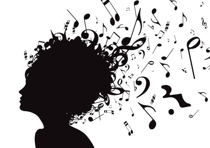 Vector illustration of abstract Young girl face silhouette in profile with musical hair