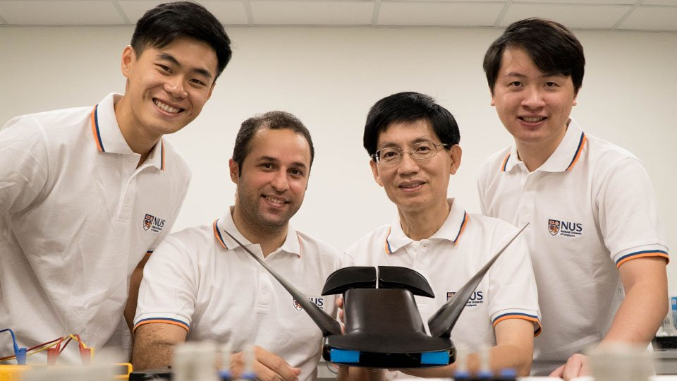 The research team from the NUS Department of Mechanical Engineering developed MantaDroid, a robotic manta ray that can swim at the speed of twice its body length per second for up to 10 hours (From left to right: Mr Gunawan Sun, Research Engineer; Dr Soheil Arastehfar, Research Fellow; Associate Professor Chew Chee Meng; and Dr Lu Hao, Research Fellow)
