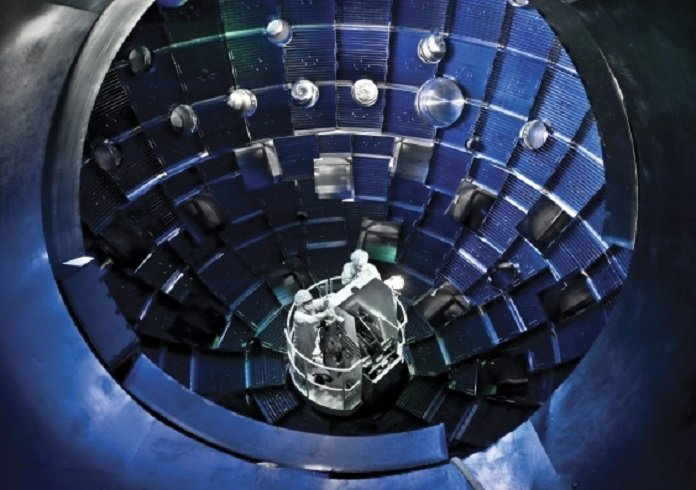 The central core of the large laser-based inertial confinement fusion research device of the National Ignition Facility in the USA