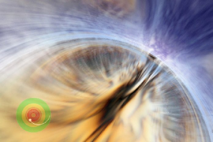 Passing through the outer or event horizon of a black hole would be uneventful for a massive black hole. Animation by Andrew Hamilton, based on supercomputer simulation by John Hawley