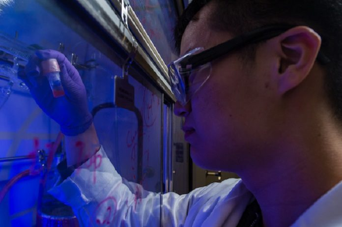 Rice graduate student Yifan Zhu holds a vial of photosensitive, semiconducting quantum dots. Photo by Jeff Fitlow