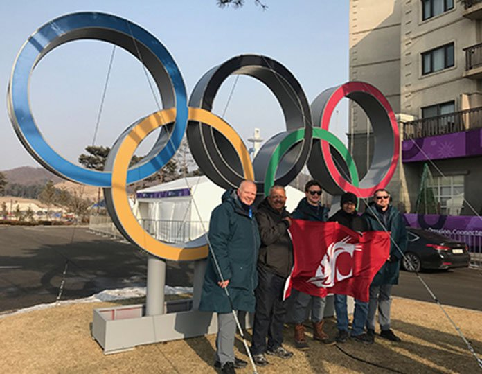Jayaram Sankar and Cougar friends at 2018 Winter Olympics.