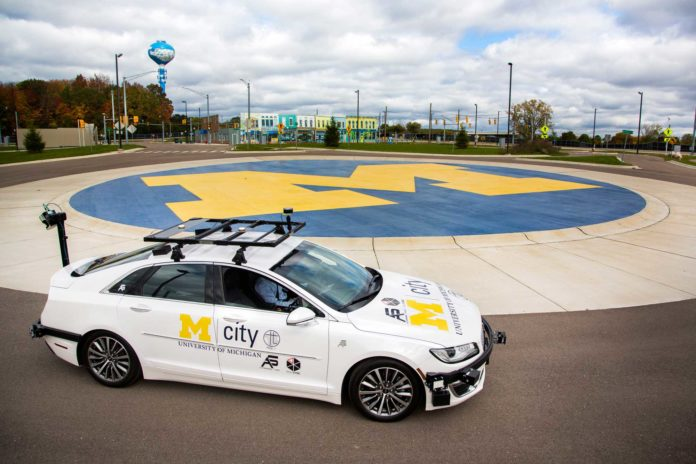 A specially equipped Lincoln MKZ, based at Mcity, is an open-source connected and automated research vehicle available to U-M faculty and students, startups and others to help accelerate innovation