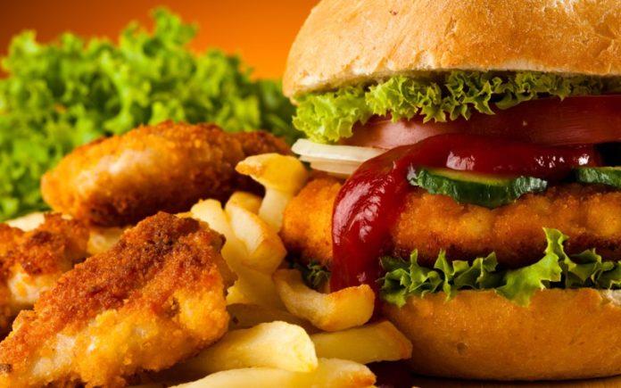 Burger, tomato ketchup