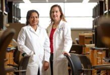 Radiation oncologist Julie Schwarz, MD, PhD, (right) and staff scientist Ramachandran Rashmi and their colleagues exploited cancer cell metabolism to kill cervical tumors that are resistant to standard chemotherapy and radiation
