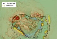 A red relief image map based on the survey results. The caldera and the lava dome can clearly be seen.