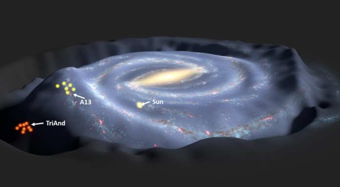 The Milky Way galaxy, perturbed by the tidal interaction with a dwarf galaxy, as predicted by N-body simulations. The locations of the observed stars above and below the disk, which are used to test the perturbation scenario, are indicated.