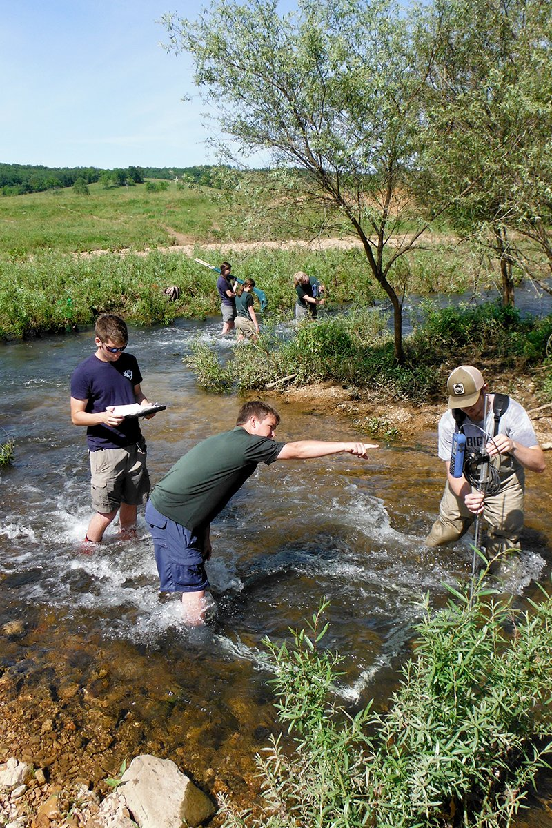 The team used kick-seining to capture the elusive crayfish in the Eleven Point River in Missouri. Photo by Eric Larson