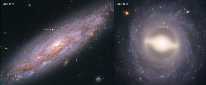 These Hubble Space Telescope images showcase two of the 19 galaxies analyzed in a project to improve the precision of the universe's expansion rate, a value known as the Hubble constant. The color-composite images show NGC 3972 (left) and NGC 1015 (right), located 65 million light-years and 118 million light-years, respectively, from Earth. The yellow circles in each galaxy represent the locations of pulsating stars called Cepheid variables