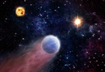 An artist's impression shows the atmosphere of a Neptune-like planet (foreground) being swept backward by powerful radiation from an outburst in the center of the Milky Way (right). The planet's host star is shown on the left