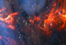 This spectacular and unusual image shows part of the famous Orion Nebula, a star formation region lying about 1350 light-years from Earth. It combines a mosaic of millimetre wavelength images from the Atacama Large Millimeter/submillimeter Array (ALMA) and the IRAM 30-metre telescope, shown in red, with a more familiar infrared view from the HAWK-I instrument on ESO's Very Large Telescope, shown in blue. The group of bright blue-white stars at the left is the Trapezium Cluster — made up of hot young stars that are only a few million years old.