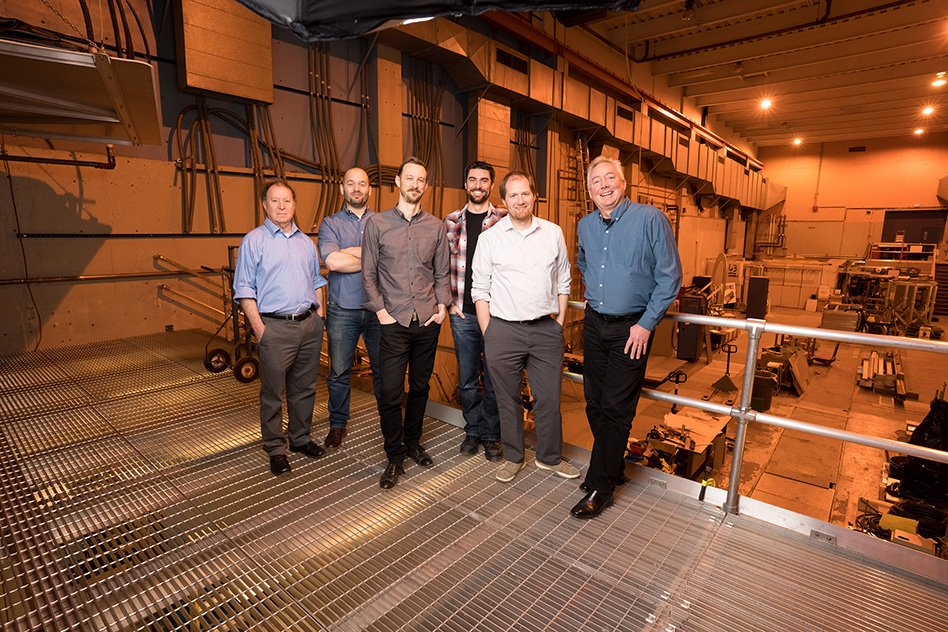 Left to right: Martin Greenwald, deputy director of the MIT Plasma Science and Fusion Center (PSFC); Dan Brunner, chief technology officer of Commonwealth Fusion Systems (CFS); Zach Hartwig, assistant professor of nuclear science and engineering; Brandon Sorbom, chief science officer of CFS; Bob Mumgaard, chief executive officer of CFS; and Dennis Whyte, director of PSFC.