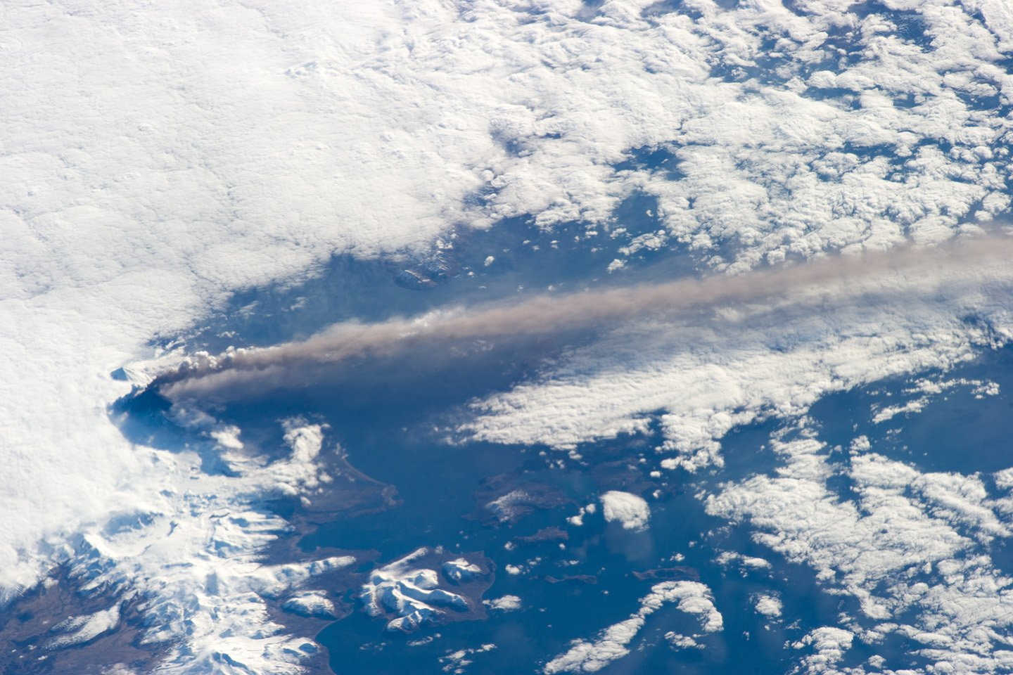 The eruption of Alaska's Pavlof Volcano as seen from the International Space Station May 18, 2013