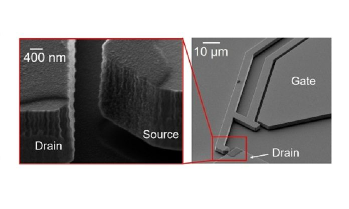 A microelectromechanical relay with the contact electrode surfaces covered by a 100nm thick layer of nanocrystalline graphite (inset)
