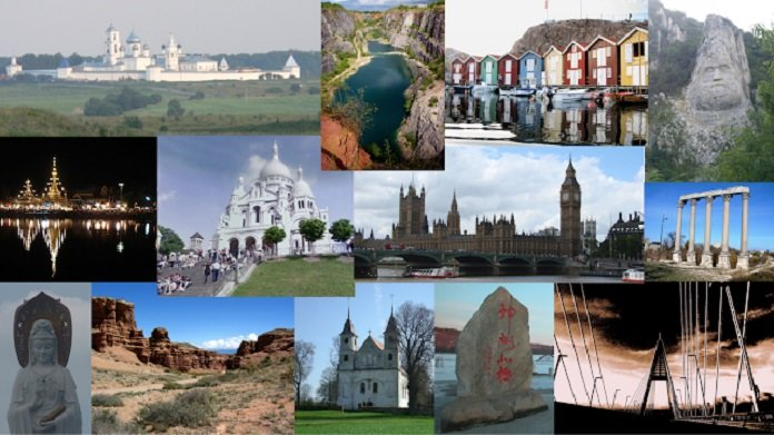 A few examples of images from the Google-Landmarks dataset, including landmarks such as Big Ben, Sacre Coeur Basilica, the rock sculpture of Decebalus and the Megyeri Bridge, among others.