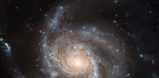 """This Hubble image reveals the gigantic Pinwheel galaxy, one of the best known examples of """"grand design spirals"""", and its supergiant star-forming regions in unprecedented detail. The image is the largest and most detailed photo of a spiral galaxy ever released from Hubble. Credit: ESA/NASA"""