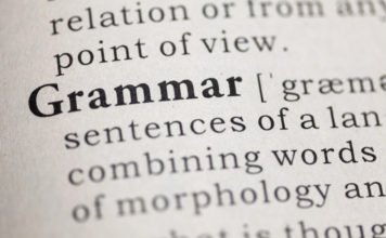 Dictionary definition of the word Grammar.