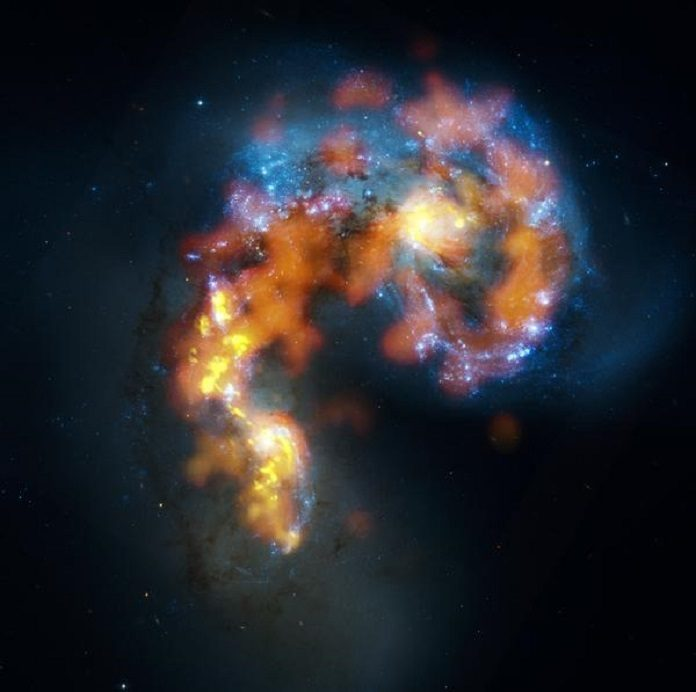 Distribution of gaz in two interacting galaxies. Picture combining optical (Hubble) and radio (ALMA) data. ©NRAO/ALMA/NASA/ESA/B.Saxton.
