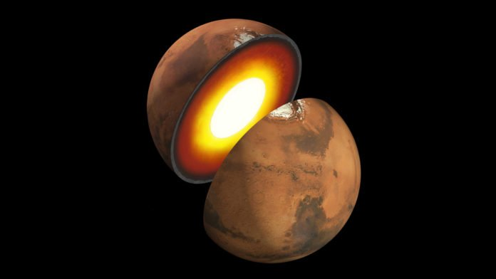 Artist's rendition showing the inner structure of Mars. The topmost layer is known as the crust, underneath it is the mantle, which rests on an inner core. Credits: NASA/JPL-Caltech