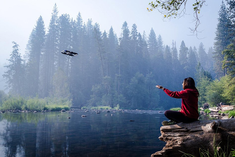 """Skydio, a San Francisco-based startup founded by three MIT alumni, is commercializing an autonomous video-capturing drone — dubbed by some as the """"selfie drone"""" — that tracks and films a subject, while freely navigating any environment.  Courtesy of Skydio"""
