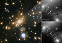 Icarus, whose official name is MACS J1149+2223 Lensed Star 1, is the farthest individual star ever seen. It is only visible because it is being magnified by the gravity of a massive galaxy cluster, located about 5 billion light-years from Earth. Called MACS J1149+2223, this cluster, shown at left, sits between Earth and the galaxy that contains the distant star. The panels at the right show the view in 2011, without Icarus visible, compared with the star's brightening in 2016. Credits: NASA, ESA, and P. Kelly (University of Minnesota)