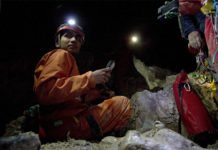 Muammar Mansor, who conducted research on Italy's Frasassi Cave while earning his Ph.D. at Penn State, analyzed gypsum found in the cave to detect the presence of microbes there. This blueprint for identifying life can be applied to other planets, Penn State researchers said. Image: Zena Cardman