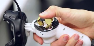 Foldaway Touch, a haptic button for virtual reality joysticks