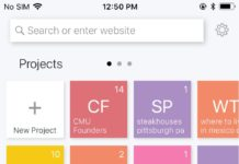 This screengrab shows the Bento browser dashboard, with each search project represented by a colored square. The browser is designed to help perform searches on mobile devices.