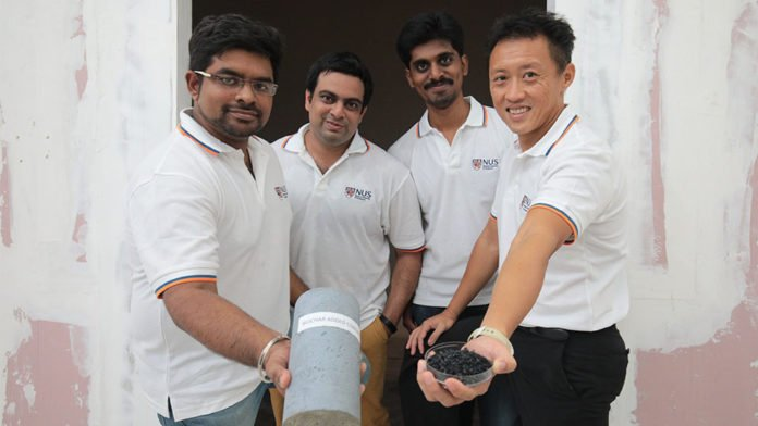 The research team led by Associate Professor Kua Harn Wei (first person from the right) has developed the novel approach of using biochar made from recycled wood waste to enhance concrete structures.