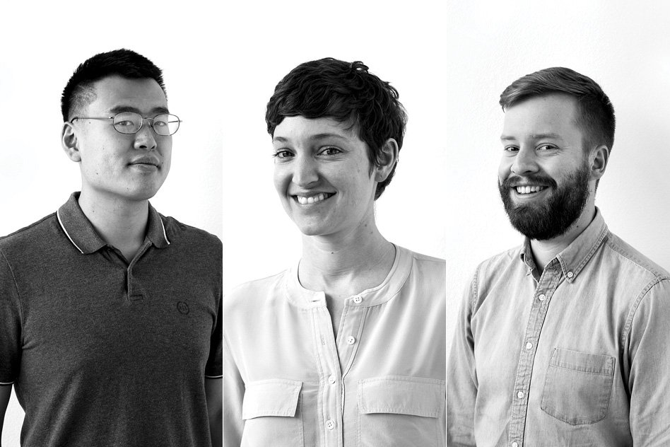 The co-founders of Ayar Labs (from left) Chen Sun, Alex Wright-Gladstein, and Mark Wade.  Image courtesy of Ayar Labs