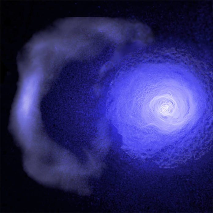 "A gigantic and resilient ""cold front"" hurtling through the Perseus galaxy cluster has been studied using data from NASA's Chandra X-ray Observatory. Credits: NASA/CXC/GSFC/S. Walker, ESA/XMM, ROSAT"
