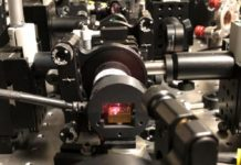 "A device developed by NIST, seen here, converts laser light into pairs of ""entangled"" photons that researchers then measure to generate a string of truly random numbers. (Credit: Shalm/NIST)"