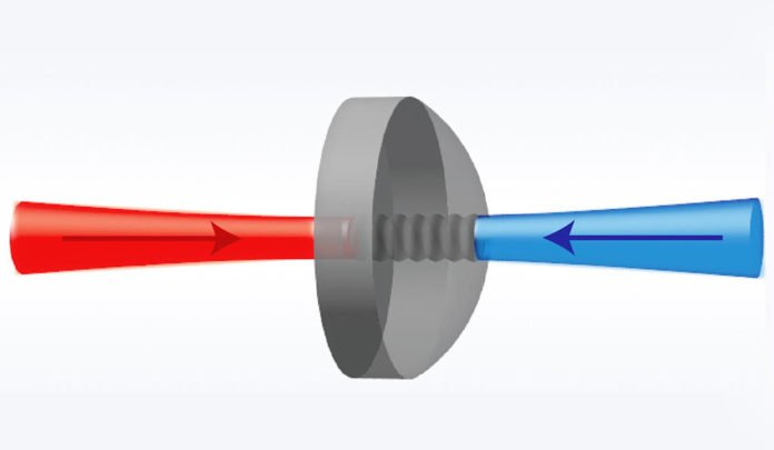 The diagram illustrates light (in red and blue) generating acoustic waves in a pristine crystal (center).
