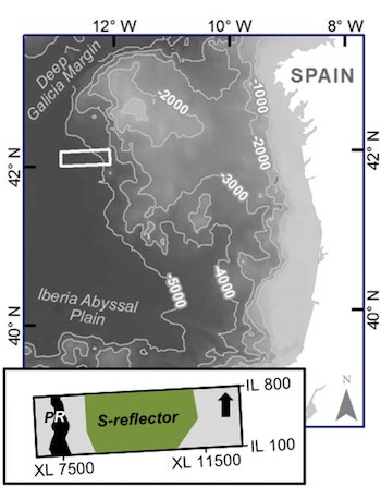 A Rice University-led seismic survey of the Galicia margin off the coast of Spain has produced new details about the passive rift that separates the oceanic and continental plates, and in particular the S-reflector, a prominent detachment fault within the transition zone. Illustration by Nur Schuba