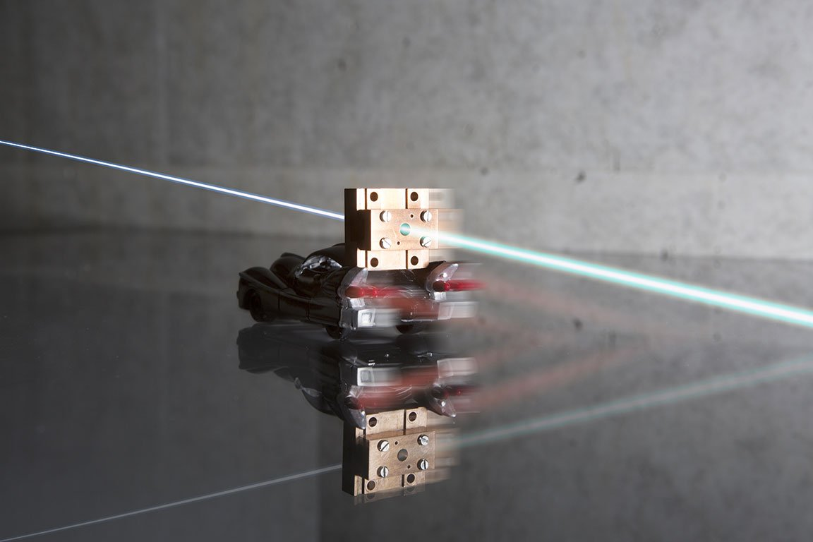 STEAM compared to a matchbox car. The direction of the electron beam is symbolised. Credit: DESY, Gesine Born