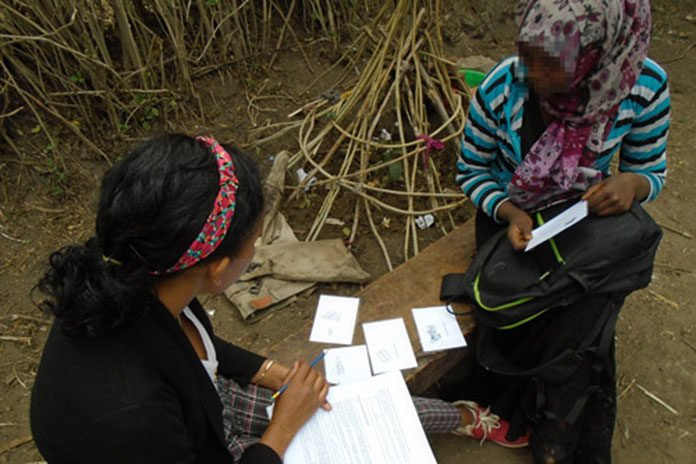 A local research assistant for the project collects information using the indirect survey method (picture cards) to obtain anonymous responses. Dr Mhairi Gibson, University of Bristol