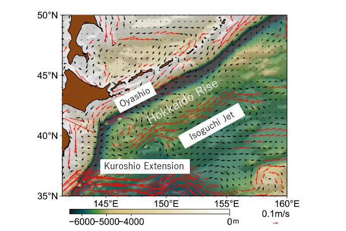 Surface current velocity (arrows) and bottom topography (shading) at the western North Pacific, emphasizing bottom rises at the depth of 5,000 meters to 6,000 meters. (Mitsudera F., et al., Nature Communications, March 22, 2018)