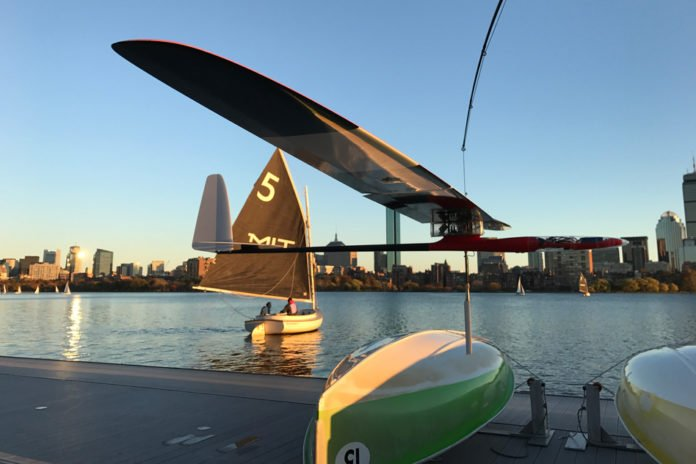 An albatross glider, designed by MIT engineers, skims the Charles River. Photo: Gabriel Bousquet