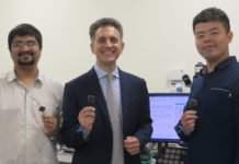 Associate Professor Massimo Alioto (centre) and his team have developed a smart microchip, BATLESS, which can self-start and continue to operate even when the battery runs out of energy. This novel technology could enable smaller and cheaper Internet of Things (IoT) devices.