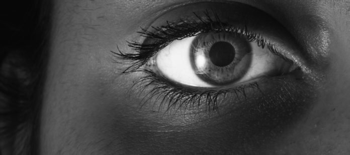macro eye black and white with black copy space. Letterbox.