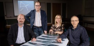 University of Illinois researchers Philippe Geubelle, left, Scott White, Nancy Sottos and Jeffrey Moore have developed a new polymer-curing process that could reduce the amount of time and energy consumed compared with the current manufacturing process. Photo by L. Brian Stauffer