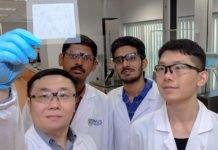 Assistant Professor Tan Swee Ching (left) and his team have invented a novel water-absorbing gel that harnesses humidity for various practical applications.