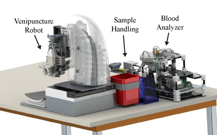 This fully automated device includes an image-guided robot for drawing blood from veins, a sample-handling module and a centrifuge-based blood analyzer. Photo: Max Balter