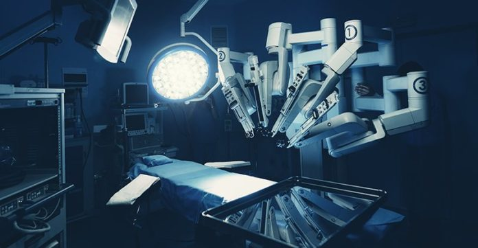 Surgical room in hospital with robotic technology equipment, machine arm surgeon in futuristic operation room.