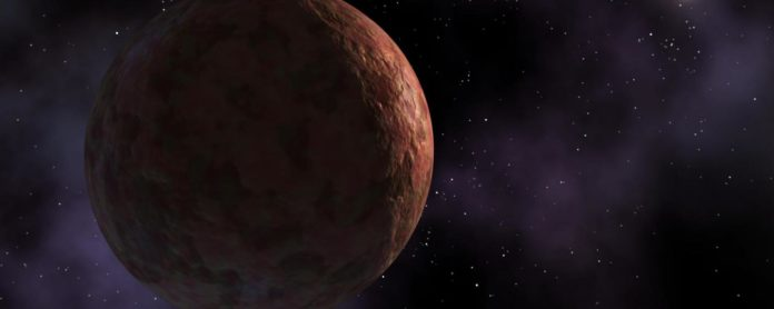 An artist's rendering of Sedna, which looks reddish in color in telescope images. (Credit: NASA/JPL-Caltech)