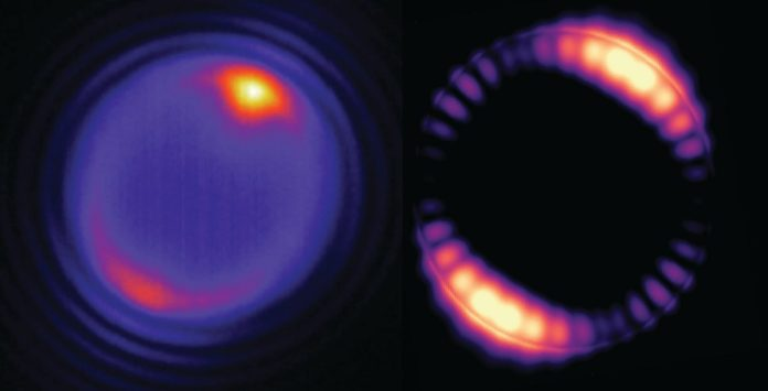 At left, a tiny bead struck by a laser (at the yellowish spot shown at the top of the image) produces optical modes that circulate around the interior of the bead (pinkish ring). At right, a simulation of how the optical field inside a 5-micron (5 millionths of a meter) bead is distributed. (Credit: Angel Fernandez-Bravo/Berkeley Lab, Kaiyuan Yao)