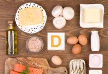 Vitamin D containing foods, top view