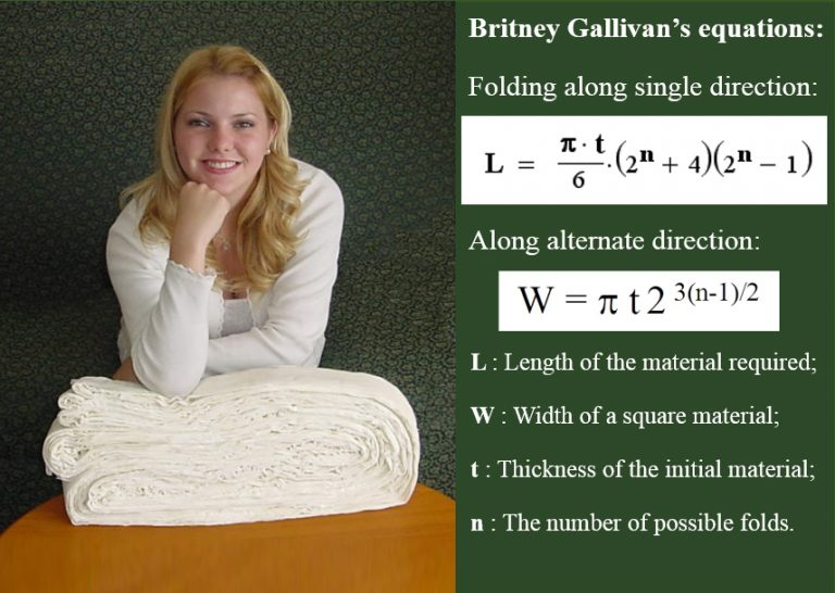 Britney Gallivan sitting on top of her gigantic piece of paper with 11 folds (left) and her equation (right).