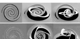 At left, different patterns of slices through a thin metal foil, are made by a focused ion beam. These patterns cause the metal to fold up into predetermined shapes, which can be used for such purposes as modifying a beam of light. Courtesy of the researchers