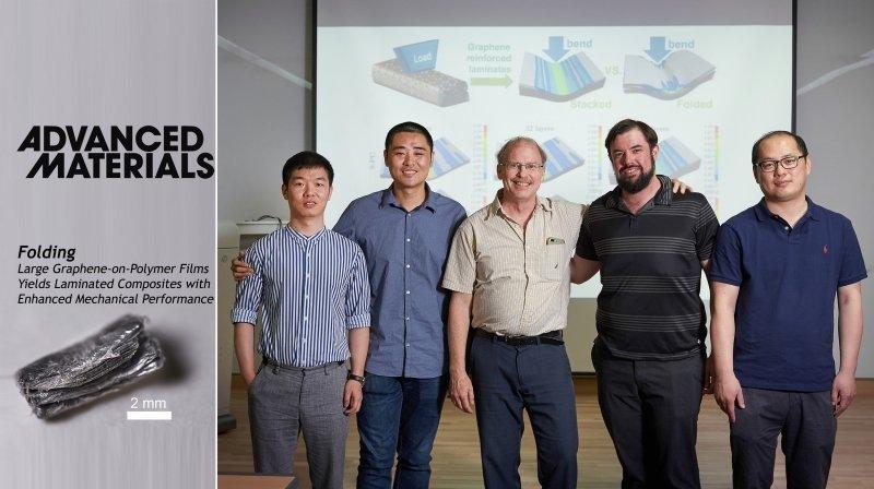 From left are Chunhui Wang, Bin Wang, Distinguished Professor Rodney S. Ruoff, Benjamin Cunning, and Yi Jiang. l Photo Credit: Kyoungchae Kim